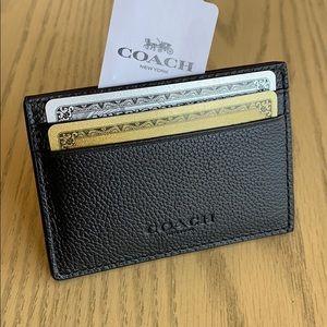 Coach black leather money clip card wallet